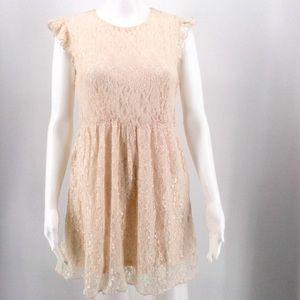 MODCLOTH MOON COLLECTION Dress M Blush Pink Lace